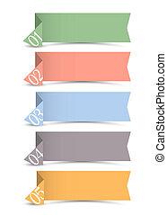 bandiere, carta, origami, vettore, numerato