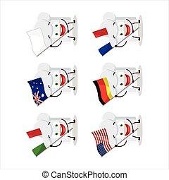 bandiere, cartone animato, paesi, vario, cappello chef, portare, carattere