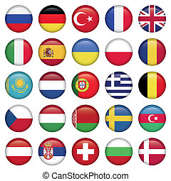 bandiere europee, rotondo, icone