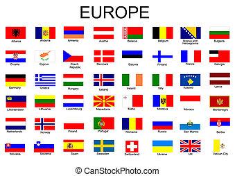 bandiere, europeo, elenco, paese, tutto