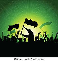 bandiere, folla, felice
