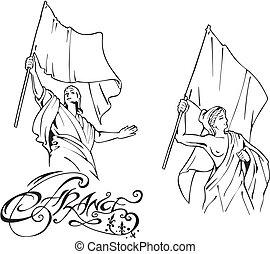 bandiere, francese, marianne