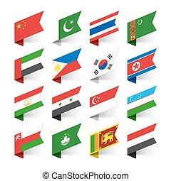 bandiere, mondo, asia