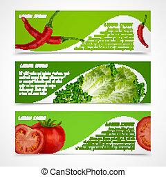 bandiere, orizzontale, verdura