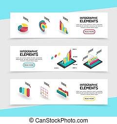 bandiere orizzontali, infographic, isometrico, elementi