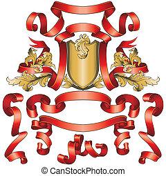 bandiere, scudo, collezione, dorato, rosso