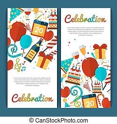 bandiere, set, celebrazione