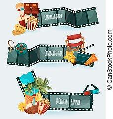 bandiere, set, cinema