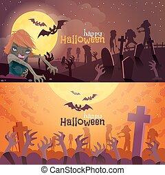 bandiere, set, halloween