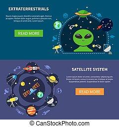 bandiere, set, sistema satellite