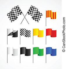 bandiere, set, sport