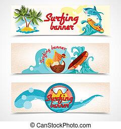 bandiere, surfing, set