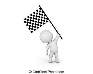 bandierina ondeggiamento, checkered, carattere, 3d
