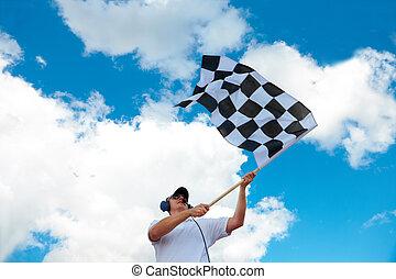 bandierina ondeggiamento, checkered, uomo, raceway