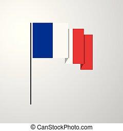 bandierina ondeggiamento, francia, fondo, creativo