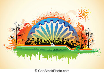 bandierina ondeggiamento, indiano, tricolore, cittadino