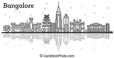 bangalore, reflections., costruzioni storiche, orizzonte, contorno