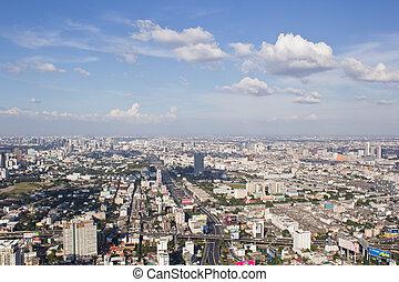 bangkok, città, sopra, vista
