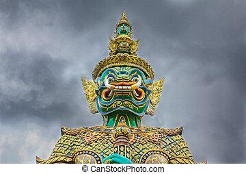 bangkok, tutore, phra, demone, nuvoloso, budda, smeraldo, tailandia, wat, kaew, tempio, cielo