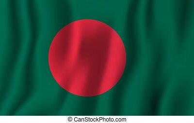 bangladesh, paese, nazionale, simbolo., ondeggiare, realistico, bandiera, vettore, fondo, giorno, indipendenza, illustration.