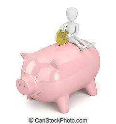 bank., persone, soldi, -, piggy, piccolo, 3d