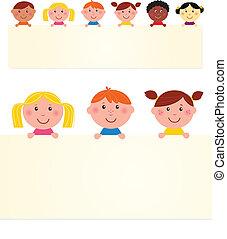 banner., vettore, bambini, vuoto, sei, illustration., multicultural