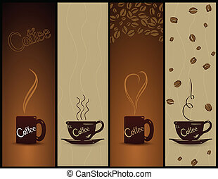 banners., caffè, vettore, set