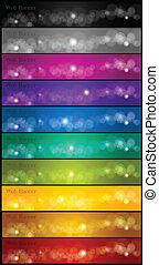 banners., vettore, set, colorito