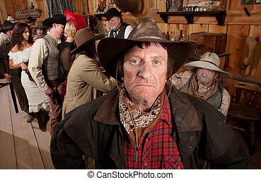 bar, accidentato, cowboy