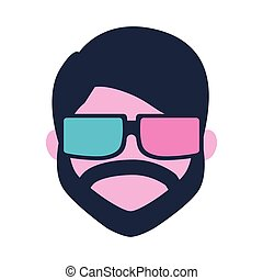 barba, film, uomo, usando, 3d, film, occhiali