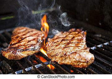 barbecue, bistecche