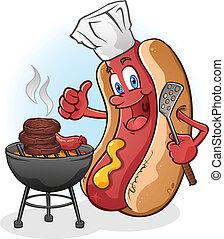 barbecue, caldo, cuocere, cane, cartone animato