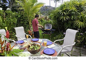 barbecue, cottura, uomo asiatico