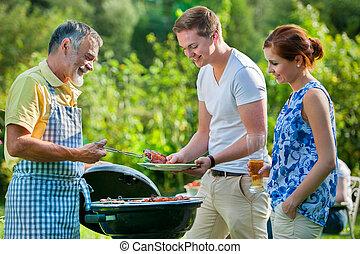 barbecue, detenere, partito famiglia