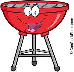 barbecue, mascotte, cartone animato, rosso, charact
