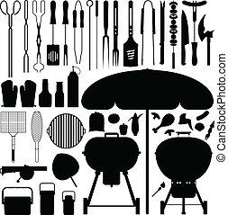 barbecue, silhouette, vettore, set, bbq