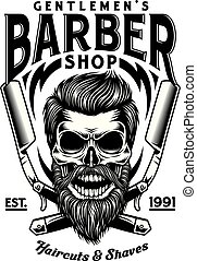 barbuto, cranio, vendemmia, attraversato, rasoi, barbiere