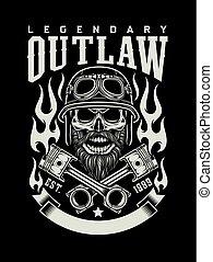barbuto, emblema, cranio, vendemmia, motociclista, attraversato, pistoni