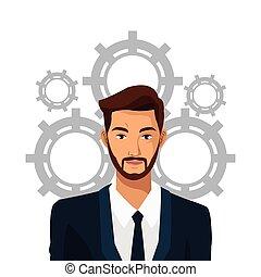 barbuto, ingranaggio, affari, lavoro, completo, squadra, uomo