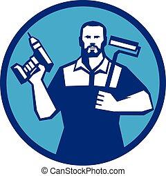 barbuto, paintroller, uomo tuttofare, cordone, retro, trapano, cerchio