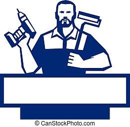 barbuto, paintroller, uomo tuttofare, cordone, retro, trapano