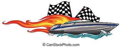 barca, illustratio, vettore, vinile, grafica, pronto, striscia