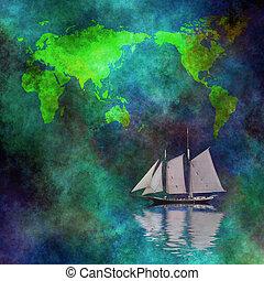 barca vela, mappa, mondo