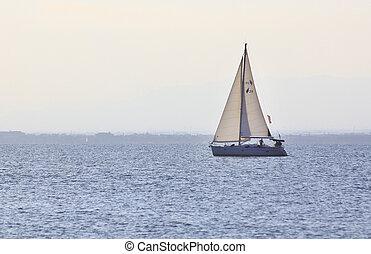 barca vela, tramonto, navigazione