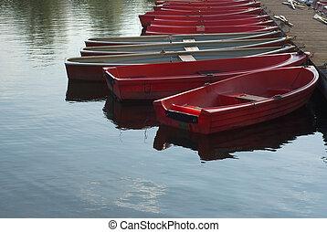 barche, lago, fila