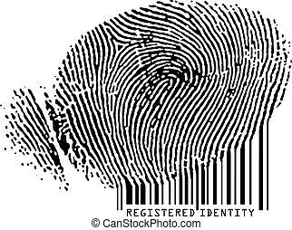 barcode., registrato, -, impronta digitale, conveniente, identità