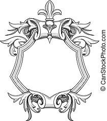 barocco, scudo, disegno