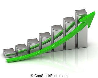 barre, affari, grafico, crescita, uscita, argento