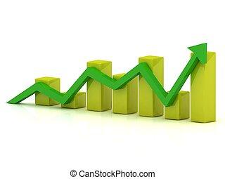 barre, affari, grafico, giallo, crescita, verde, freccia