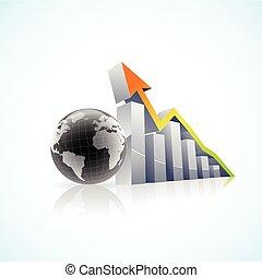 barre, globale, vettore, 3d, economia